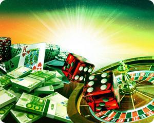 Seteleitä, pelimerkkejä, noppia, pelikortteja ja rulettipyörä
